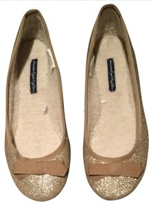 American Eagle Outfitters Fur Moccasins Glitter Gold Sparkle Girly Glam Fashion Fun Gold Glitter Flats