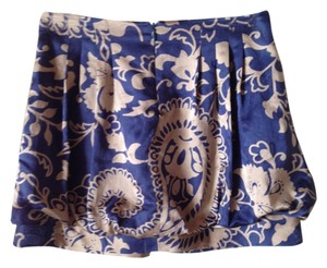Single Paisley Mini Mini Skirt Blue/Natural Print