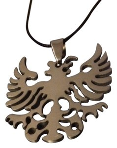 REDUCED PRICE!!! Stainless Steel Eagle Pendant on a Black Rope