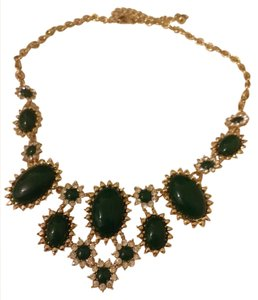 gold plated statement bib necklace green stones