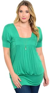 Libian Plus-size Soft Top Green