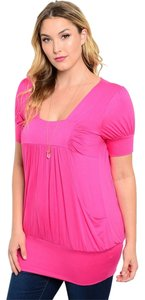 Libian Plus-size Casual Short Sleeve Top Pink