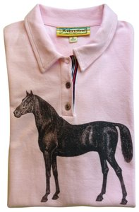 Libertine for Target Casual Classic Comfortable Designer Horses Knit Limited Edition Polo Preppy T Shirt Pink