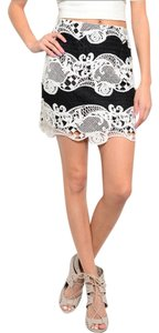 Mustard Seed Women Lace Crochet Mini Skirt Black, Off White