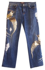 Roberto Cavalli Beaded Birds Couture Boot Cut Jeans-Medium Wash