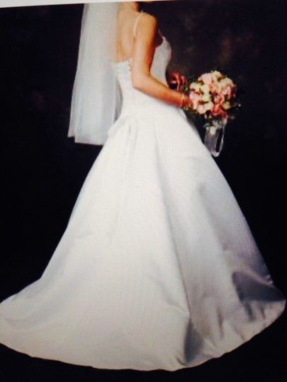 Maggie Sottero White Satin with Swarovski Crystals On Bodice and Down Skirt Formal Wedding Dress Size 8 (M)