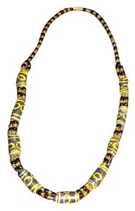 HANDCRAFTED WOODEN DRUM BEAD NECKLACE BLACK/ YELLOW 18