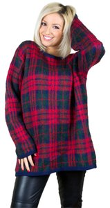 Strawbridge & Clothier Oversized Plaid Vintage Red Plaid Sweater