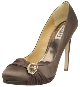 Badgley Mischka Bridal Bridesmaid Rhinestone Satin Dark Grey Platforms