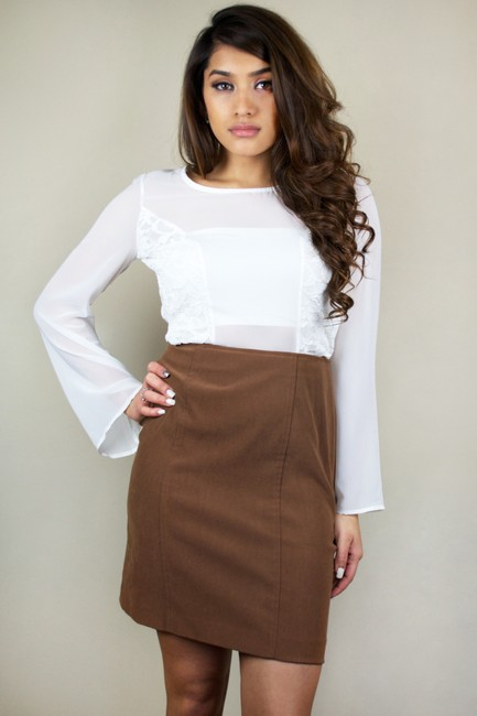 Petite Sophisticate Vintage Faux Suede Suede Pencil Work Office Professional Formal Work Apparel Tan Midi Skirt Camel