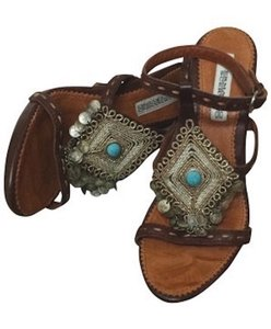 Other Made In Italy Coins Turquoise Stone Embroidered Embellished Ankle Strap Buckle Non-slip Detail Brown Sandals
