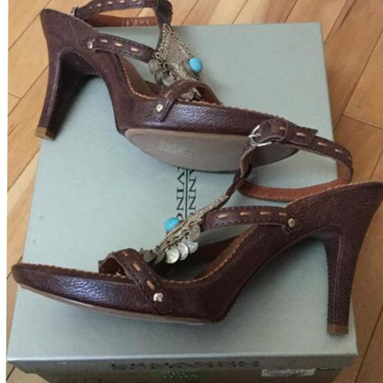 Other Made In Italy Leather Coins Turquoise Stone Embroidered Embellished Ankle Strap Buckle Non-slip Detail Brown Sandals