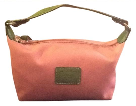 Preload https://item3.tradesy.com/images/coach-hampton-pouchette-pink-with-green-trim-nylon-baguette-1029132-0-0.jpg?width=440&height=440