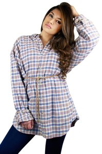 920 East Vintage 1990s 90s Flannel Button Down Shirt Red, Navy, Tan