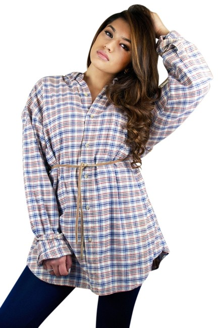 Preload https://item4.tradesy.com/images/red-navy-tan-vintage-oversized-boyfriend-flannel-shirt-button-down-top-size-12-l-10291333-0-1.jpg?width=400&height=650