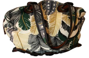 Anthropologie Leather Buttons Tropical Satchel in Green, ivory, yellow and brown