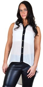 The Vintage Shop Sleeveless High Low Hi-lo Button Down Tank Sheer Light Top White, Black