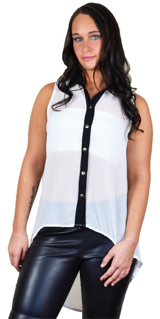 Preload https://item3.tradesy.com/images/the-vintage-shop-white-black-sleeveless-high-low-blouse-size-8-m-10291567-0-1.jpg?width=400&height=650