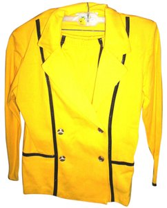 Chelsea Collection Sz L Career Dressy Pencil Skirt Set by Chelsea Collection, Yellow w/Black Trim, 100% Cotton