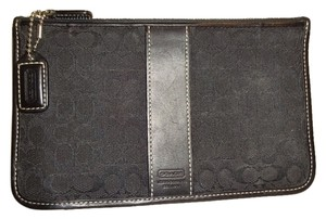 Coach COACH ~ Black Signature Jacquard Canvas Slim Zippered Accessory Pouch Wallet