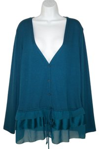 Christopher & Banks Knit Soft Ruffled Sweater Tiered Cardigan
