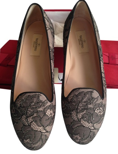 Valentino Smoking Slipper Lace Black/Nude Flats
