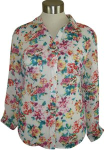 Tattoo Nwt Top MULTI FLORAL SEMI SHEER