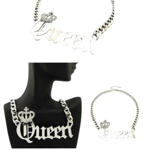 New Silver Rhinestone Queen Chain Necklace