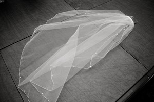 David's Bridal White Short With Pearls and Sequins Bridal Veil