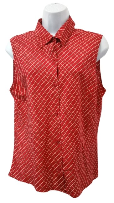 Preload https://item3.tradesy.com/images/anne-klein-red-2-sleeveless-white-print-button-down-blouse-size-12-l-10292812-0-2.jpg?width=400&height=650