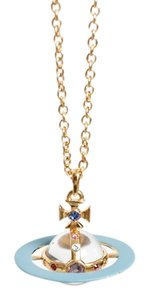 Vivienne Westwood Pave 3D Orb Pendant - Limited Edition / Gold and Blue Enamel with Swarovski Crystals / Vintage Orb Collection