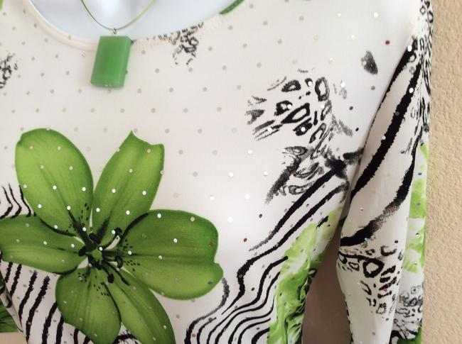 Brittany and Black Sparkles Dress Spex Top White, Green and Black