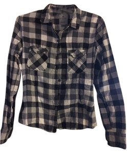 Nollie Plaid Flannel Button Down Shirt Black and White