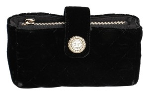 Chanel Quilted Velvet Evening Black Clutch