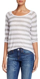 James Perse T Shirt Grey and White stripe