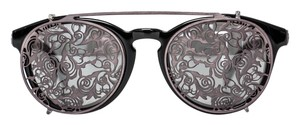 Diesel Black and Gold Collection / Double Eye / Black Sunglasses with Metal Decorative Clip