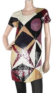 Catherine Malandrino Mini Above The Knee Cap Sleeve Silk Sequin Color-blocking Geometric Dress