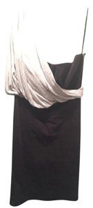 LaROK Lbd One Shoulder Draping Black Light Grey Exposed Side Zipper Fitted Sexy Chic Edgy Classy Dress