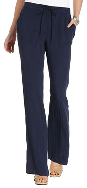 Charter Club Low Rise Relaxed Fit Straight Inseam: 31 Inches Wide Leg Pants Blue