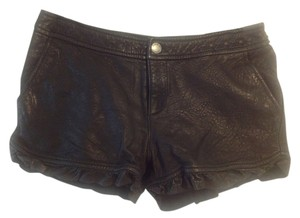 Juicy Couture Leather Lambskin Moto Casual Chic Dress Shorts BLACK