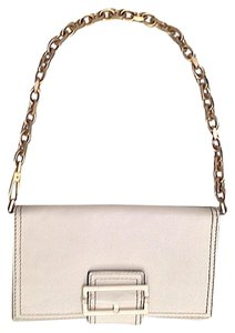 Givenchy Clutch Leather Wallet Wristlet Gold Tone Chain Shoulder Bag