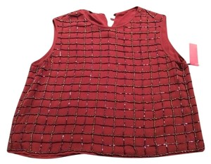 Escada Silk Cropped Tank Sleeveless Top MAROON - BEADED