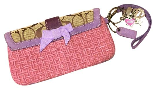 Coach Pink, Purple and Brown Clutch