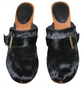 Pley Pony Hair Wood Euro Size 39 Size 9 Black Mules