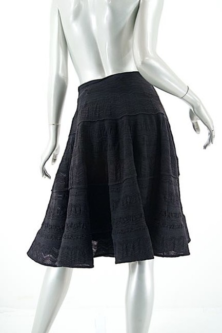 Ralph Lauren Collection Wool Blend Woven Swing Skirt Black