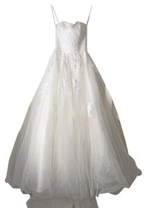 Demetrios Ivory Lace Over Tulle 1458 Formal Wedding Dress Size 2 (XS)