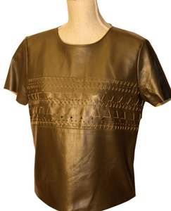 Sachin + Babi Leather Woven Cut-out T Shirt Olive Indra