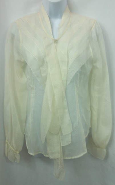 Other Silk Blouse Button Down Shirt OFF-WHITE