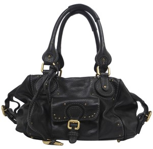 Chlo Leather Distressed Satchel in Black