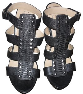 Rachel Roy Leather Strappy Studded Gladiator Sandal black Pumps